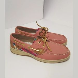 New Sperry washed red plaid leather boat shoe sz 6
